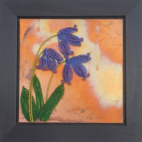 beaded flower bluebells on copper