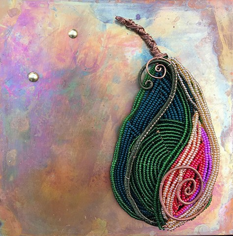 beaded flower pear on copper