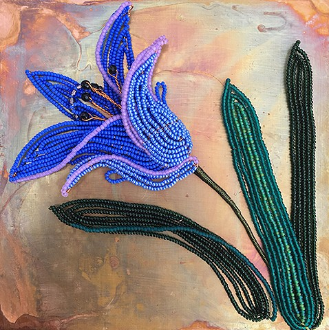 beaded flower blue lily on copper