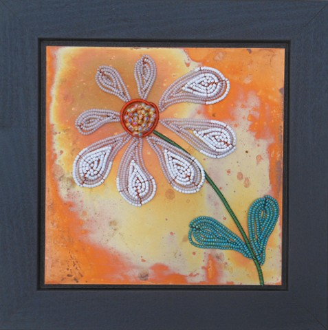 beaded flower white daisy on copper