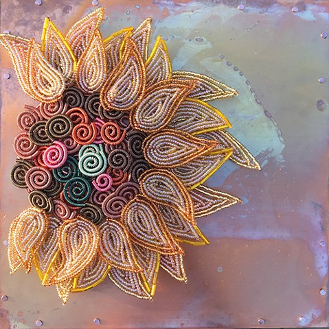 beaded flower sunflower on copper