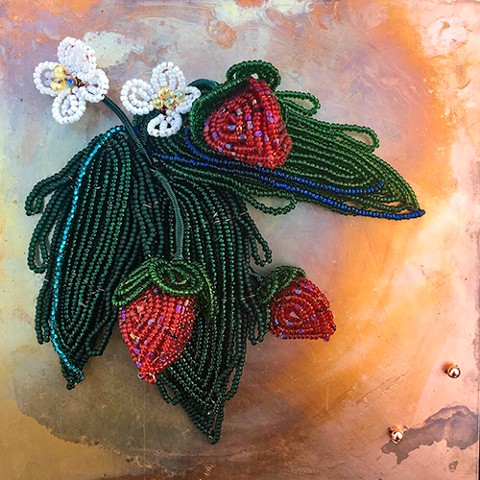 beaded flower strawberries on copper