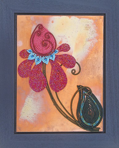 beaded flower iris on copper