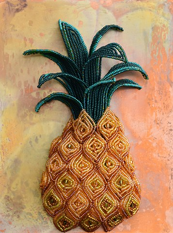 beaded flower pineapple on copper