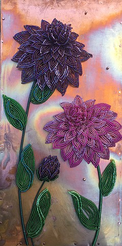 beaded flower dahlias on copper