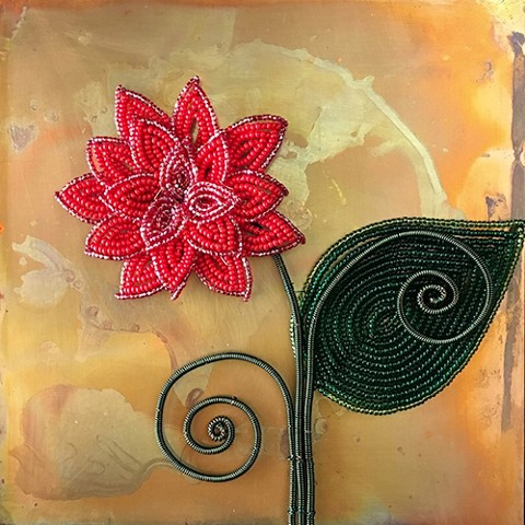 beaded flower red dahila on copper