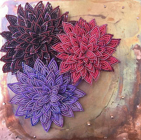 beaded flower mums on copper