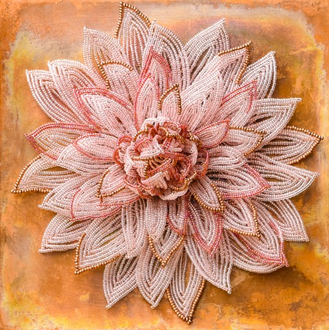 beaded flower pink dahlia on copper