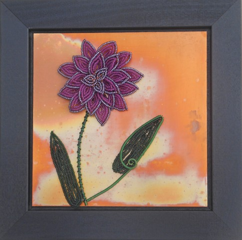 beaded flower violet dahlia on copper