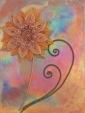 beaded flower gold sunflower on copper
