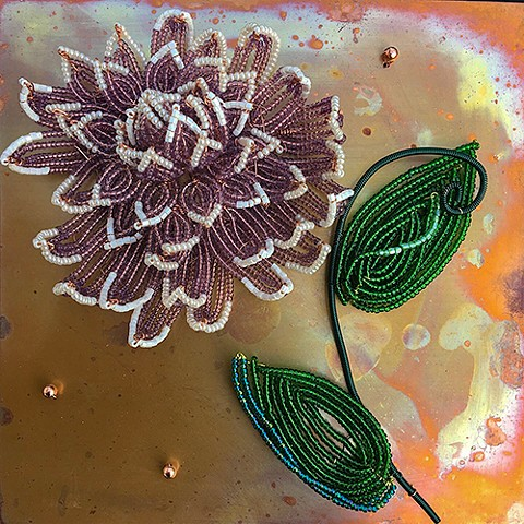 beaded flower chrysanthemum on copper