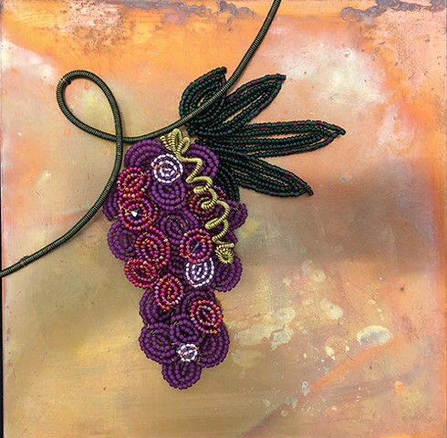 beaded flower grapes on copper