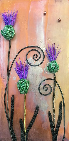 beaded thistle on copper