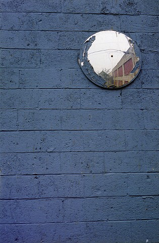 Blue Wall with Mirror