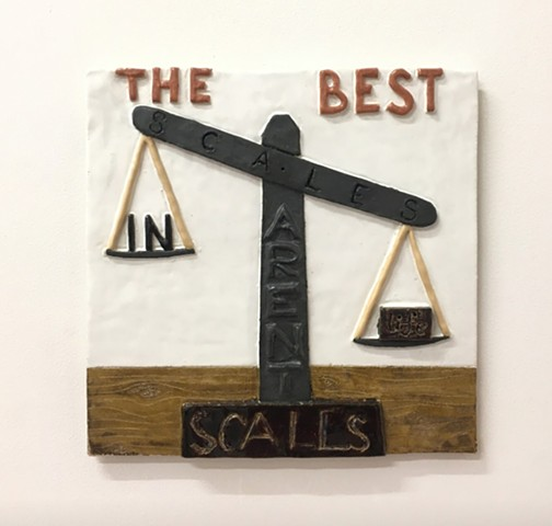 """The Best Scales in Life Aren't Scales"", Baldvin Einarsson Ceramics 30 x 30 cm 2019"