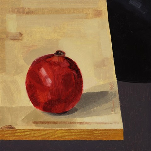 A still life painting of a pomegranate on a table
