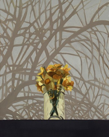 A still life painting of daffodils on a window ledge with branches behind