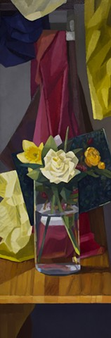 A still life painting of a floral arrangement on a table with various clothes