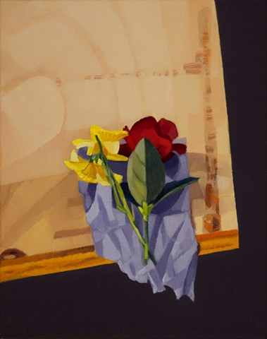 a still life painting of a red rose and daffodil on a purple cloth on wooden table