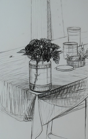 Roses in Jar and Three Smaller Jars on Table