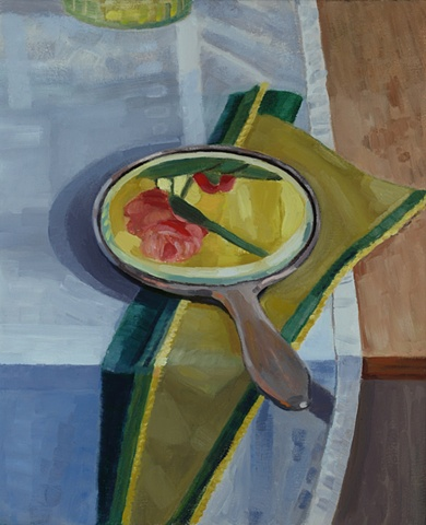 A still life painting of a mirror on a table reflecting flowers