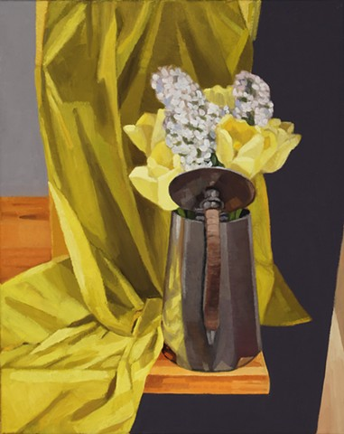 A still life painting of yellow tulips and lilacs in a metal canister on a table
