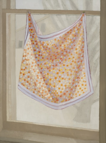 A still life painting of a silk polka dot cloth hanging in a window