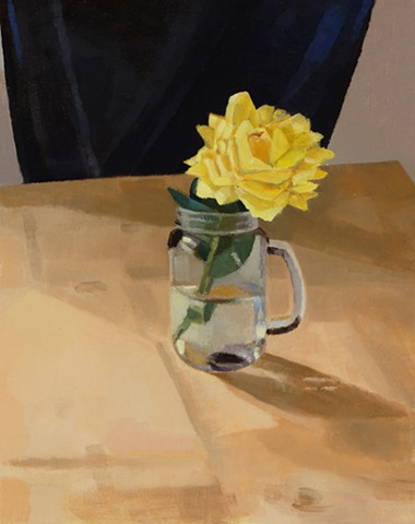 A still life painting of a yellow rose in a jar on a table