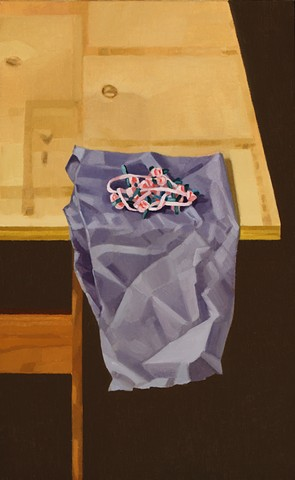 A still life painting of a ribbon on a piece of fabric on a table