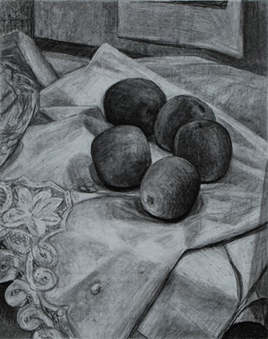 Five Apples on White Cloth