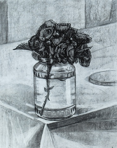 Dark Roses on Corner of Table