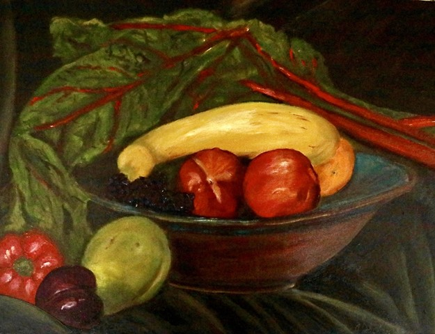 Annie Schultz Market Bounty Original Oil Painting Still life