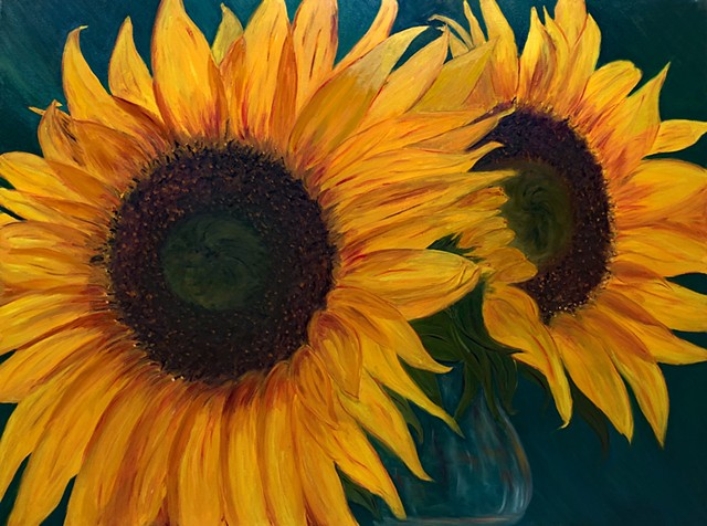 Annie Schultz Original Oil Painting Sunflowers