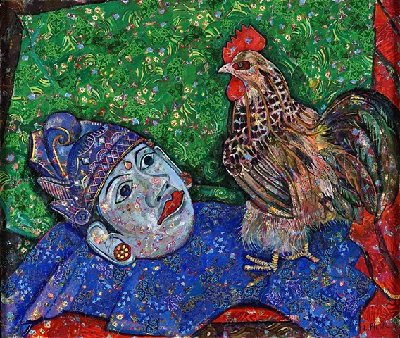 Elaine Fleck original artwork Balinese Mask Rooster fabric