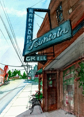 Kevin Deck watercolor Roanoke Virginia Ransone's Grill