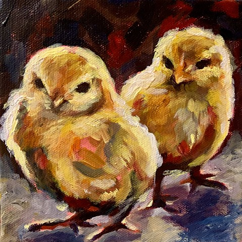 Natalie Strum original artwork chickens