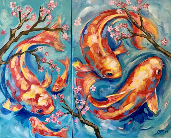 Koi On Two Panels