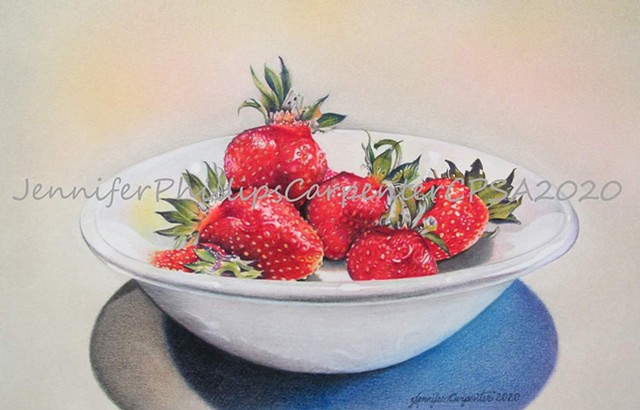 Jennifer Carpenter original artwork colored pencil Strawberries