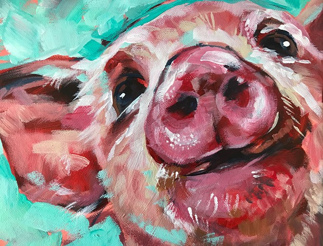 Natalie Strum original artwork pig