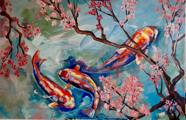 Natalie Strum original artwork lotus koi