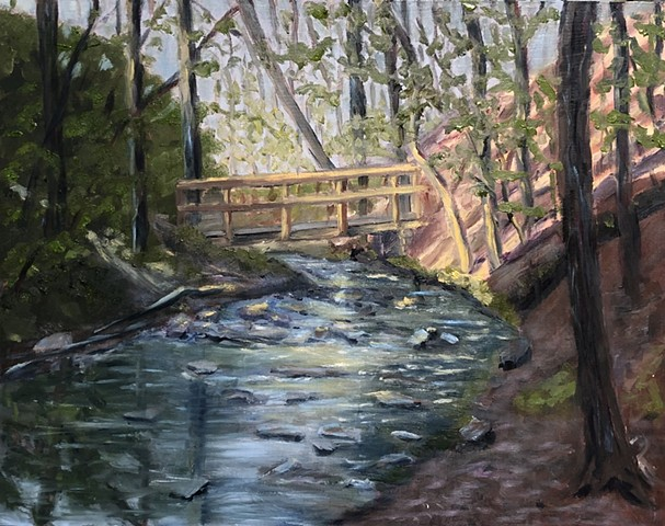 Annie Schultz Bridging the Creek Original Oil Painting