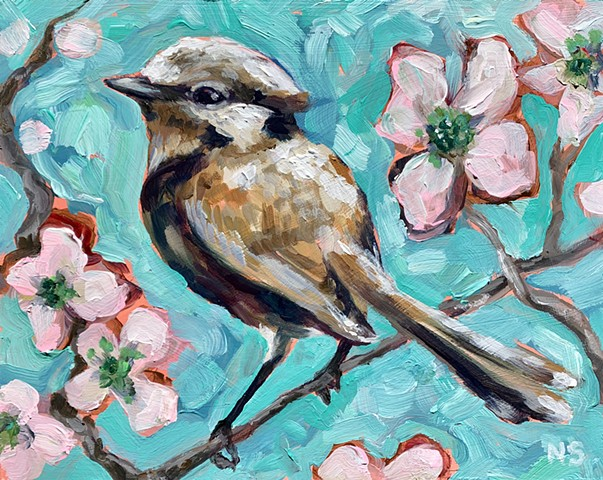Natalie Strum original artwork bird dogwood flowers