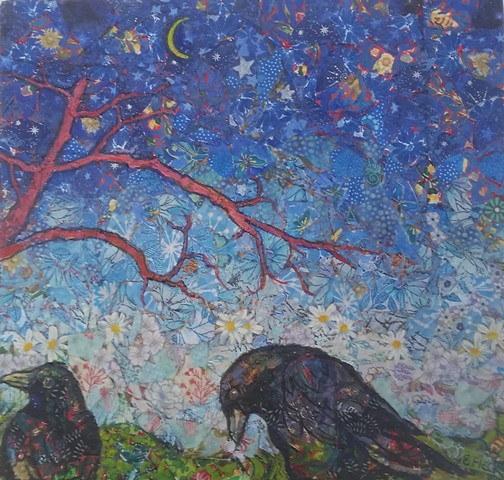 Elaine Fleck original artwork Crows
