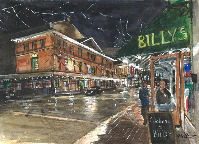 Kevin Deck watercolor Roanoke Virginia Billy's