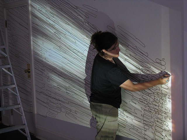 Intraplanar Extrapolations (9-hour Performative Drawing at ROY G BIV Gallery in Columbus, Ohio)