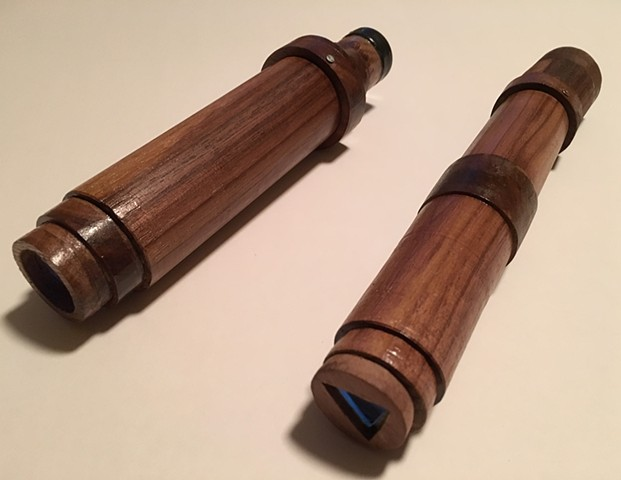 "Photos of two of Steve Kosztala's kaleidoscopes which are called""Traditional"" because they are shaped in the classical form viewers are used to seeing."