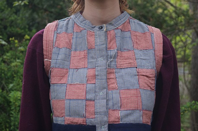 Reversible Red and Blue Woven Vest