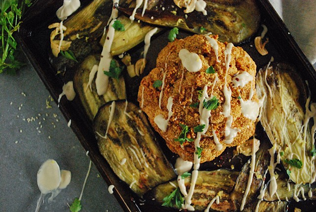 Spicy Cauliflower and Eggplant with Lemon-Tahini Sauce 'Hamitbakh' Cookbook
