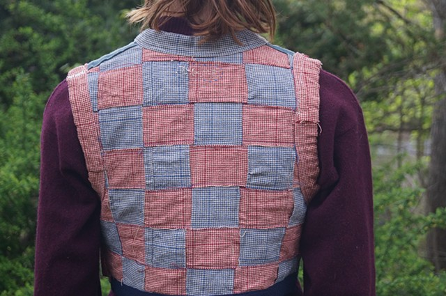 Reversible Red and Blue Woven Vest (side one, reverse)