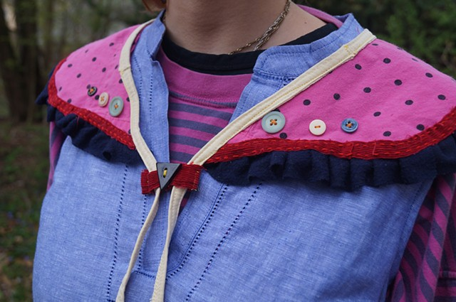 Hot Pink Half-Apron and Collar set (detail)
